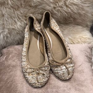 BP beige gold and pearl suede bow flats